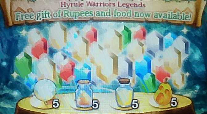November 2016: Free Gift of Rupees & Food (A Hyrule Warriors Legends SpotPass Gift)