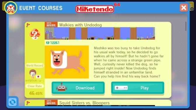 Walkies with Undodog (A Super Mario Maker Event Course)
