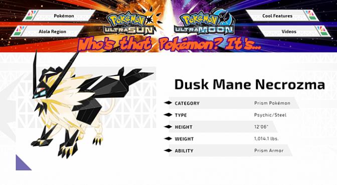 [Feature] Who's That Pokémon? It's Dusk Mane Necrozma!