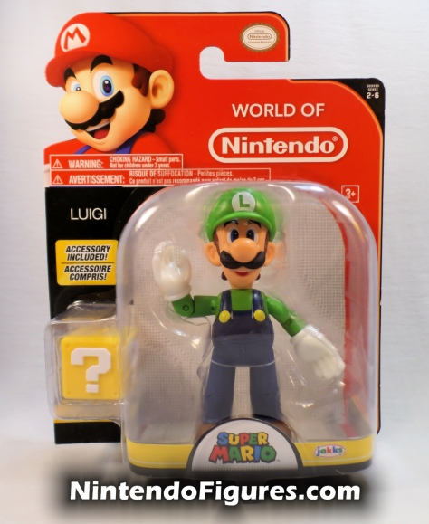 "Luigi World of Nintendo 4"" Figure Box Front Open Hands Super Mario Jakks Pacific"